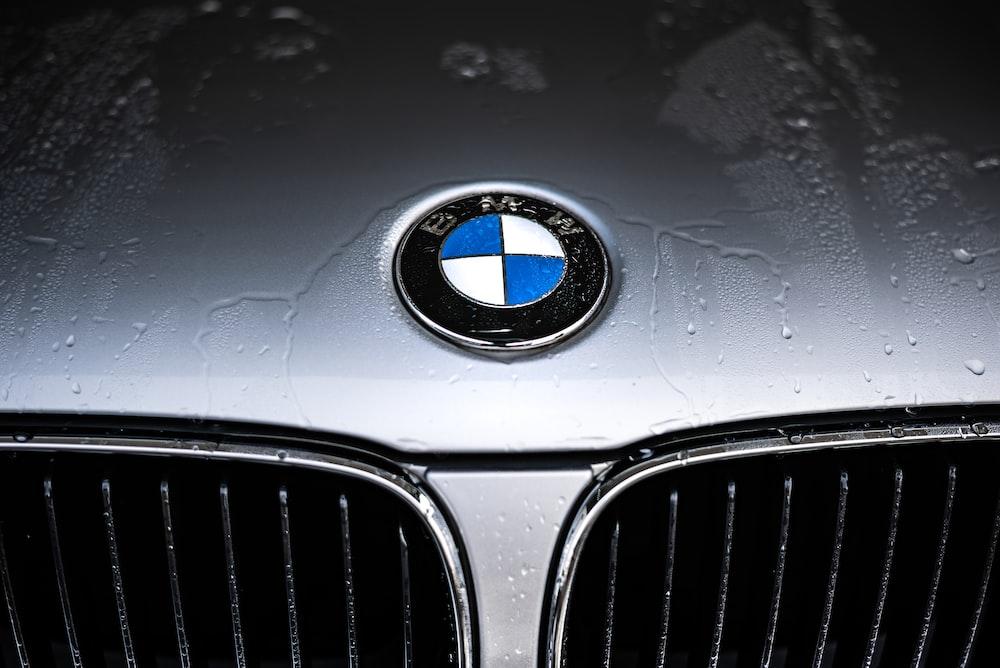 silver BMW car hood