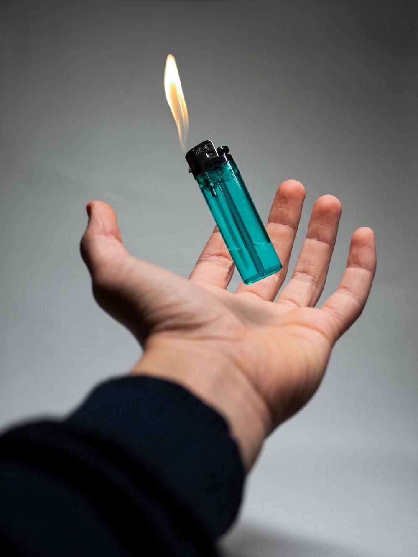 lighted blue disposable lighter