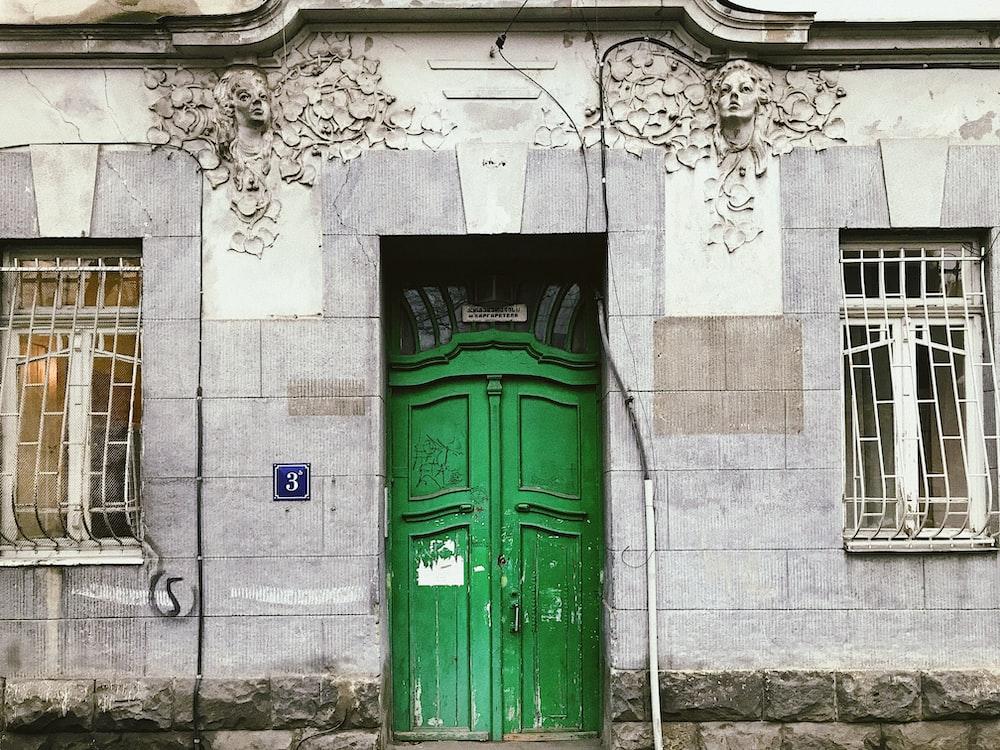 green closed door
