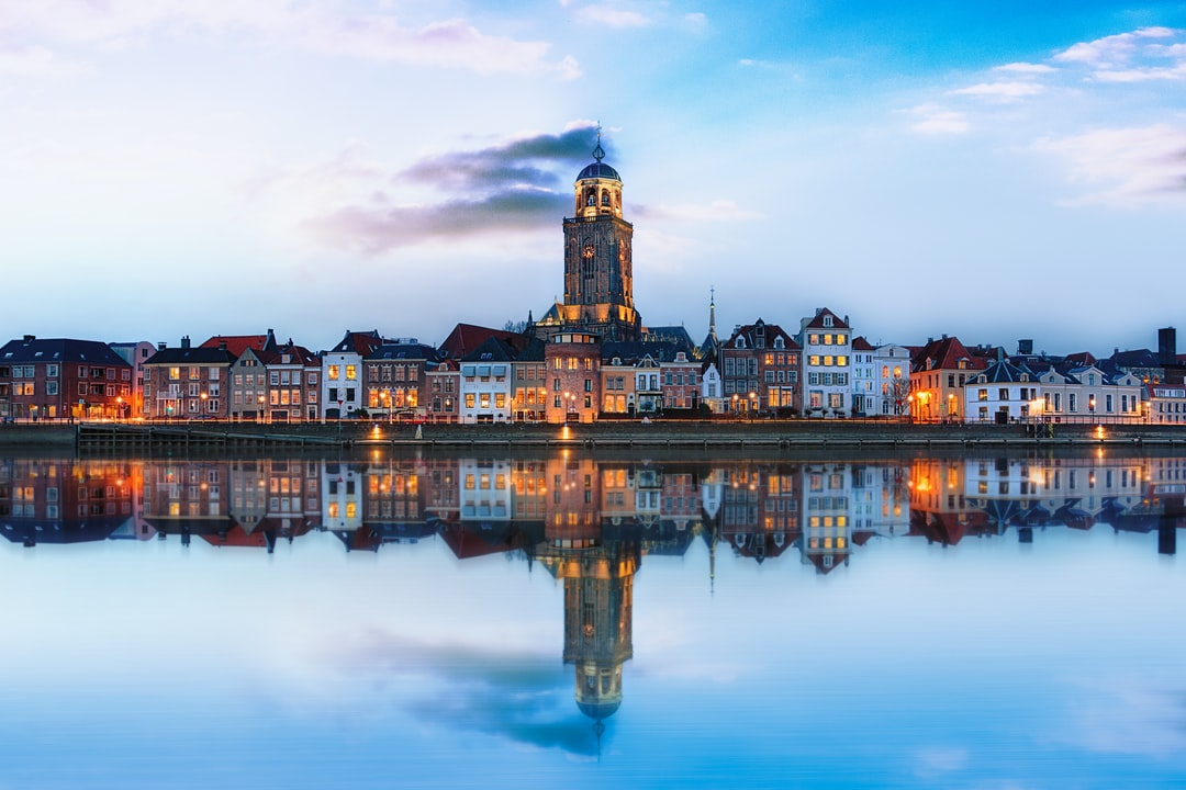 Deventer Skyline with reflection. I set uit to create this image based on what I has seen on a stockphoto site. Came out well.
