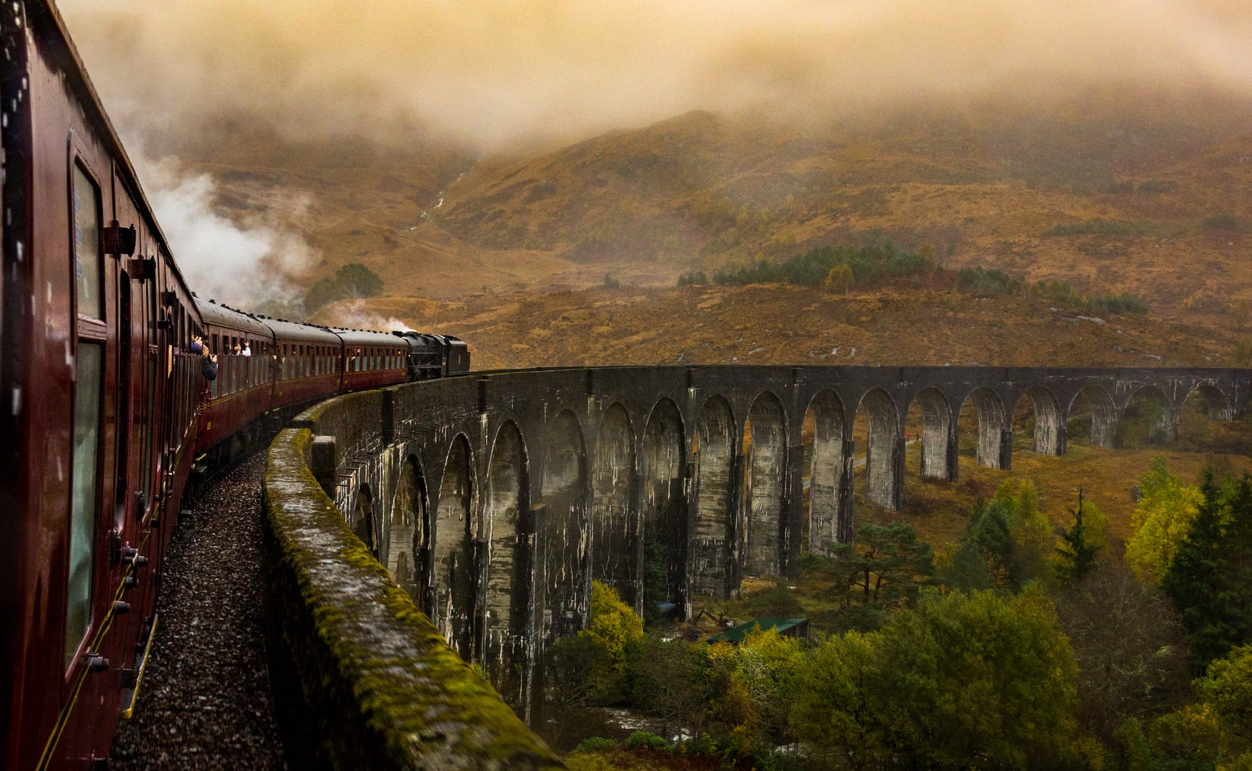 Jacobite steam train over the Glenfinnan Viaduct,  as seen in Harry Potter films going to Hogwarts