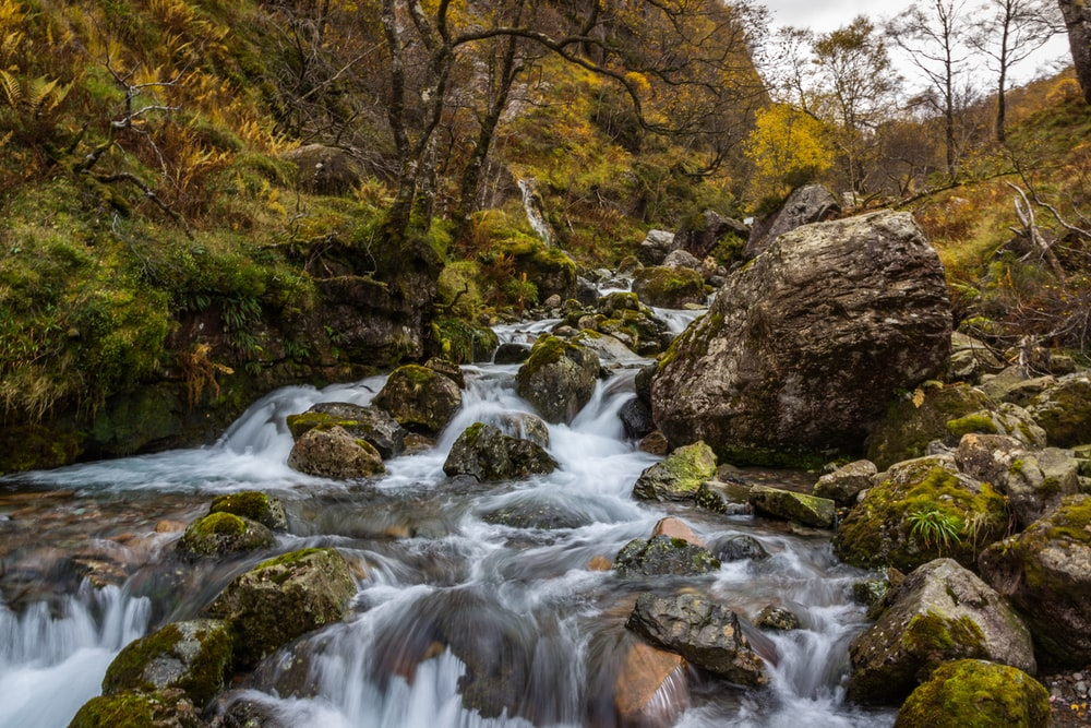 waterfalls and rocks