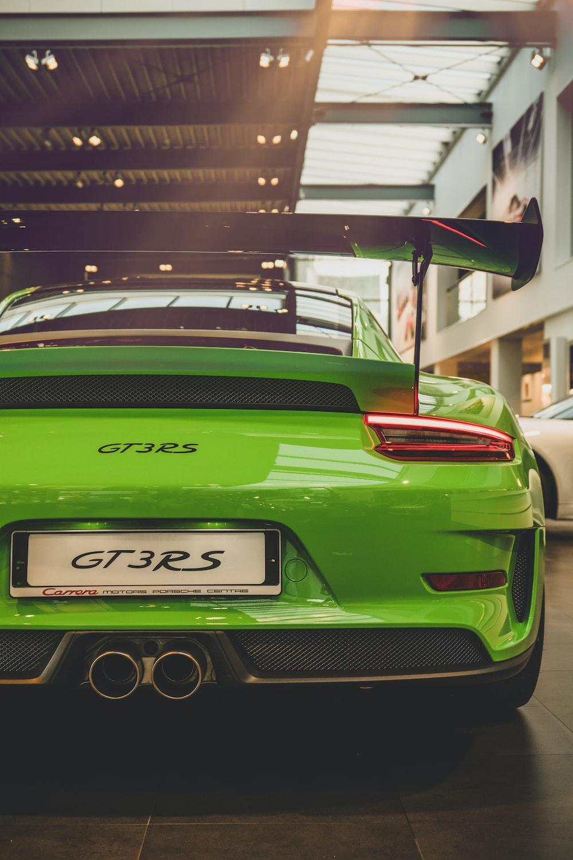 green GT3RS sports car