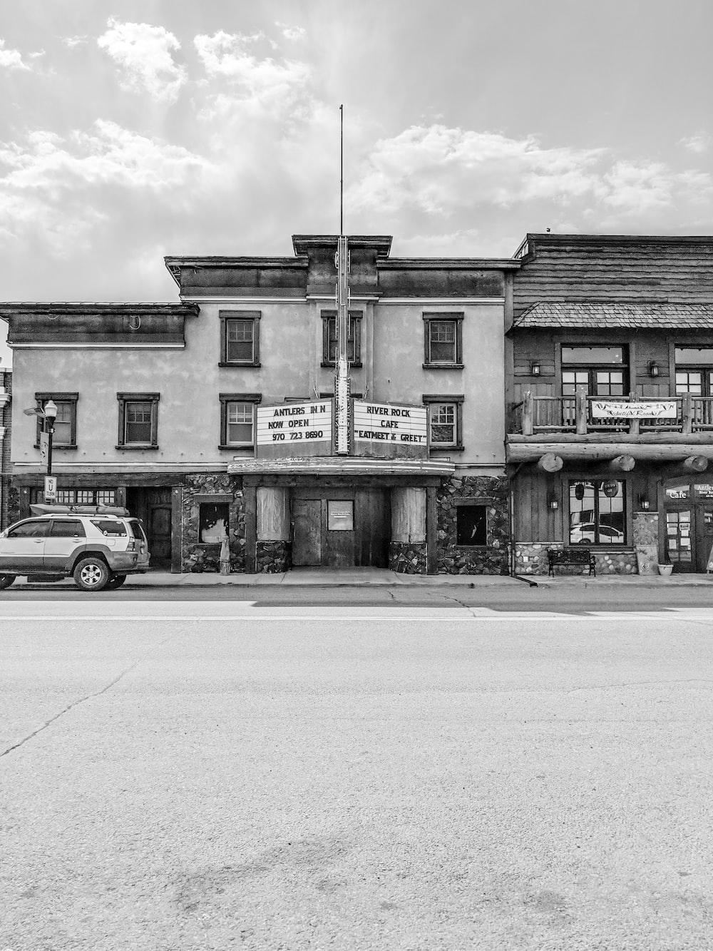 grayscale photo of establishment
