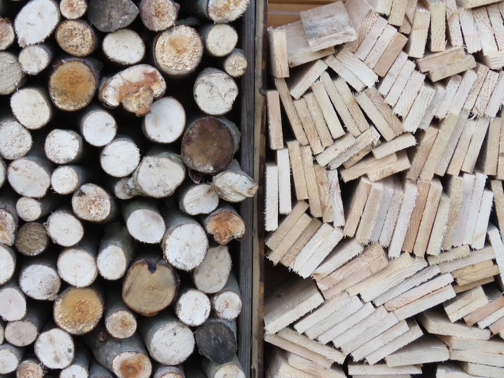brown wooden firelogs