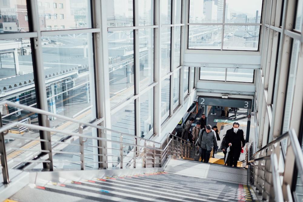 people walking on stair
