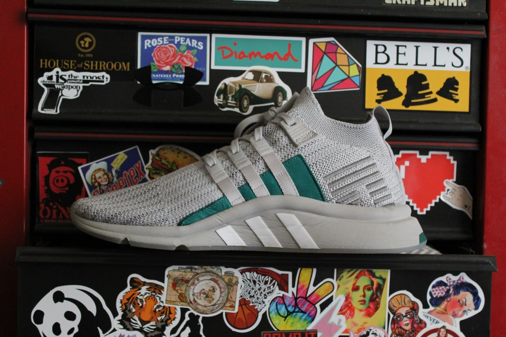 gray adidas running shoe