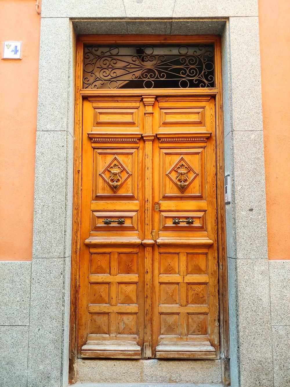 two closed brown doors