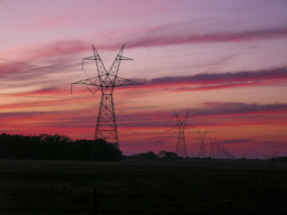 red sky and electric lines