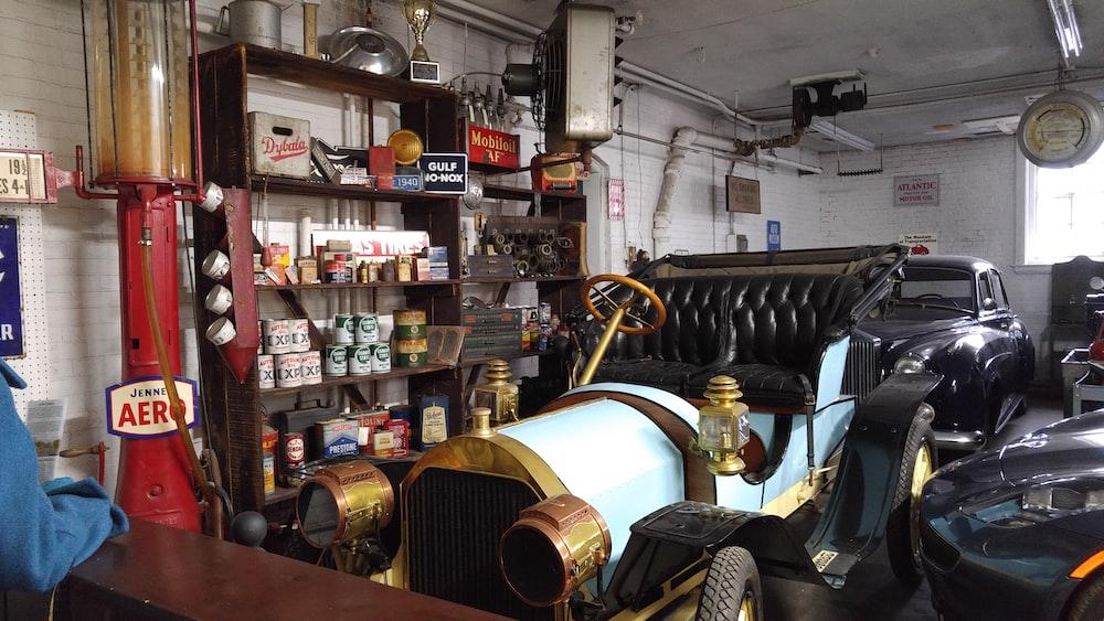 black classic car inside garage