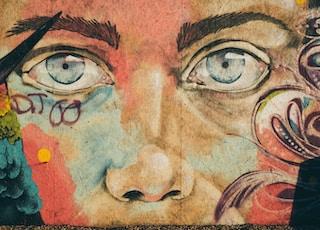 floral person's portrait graffiti