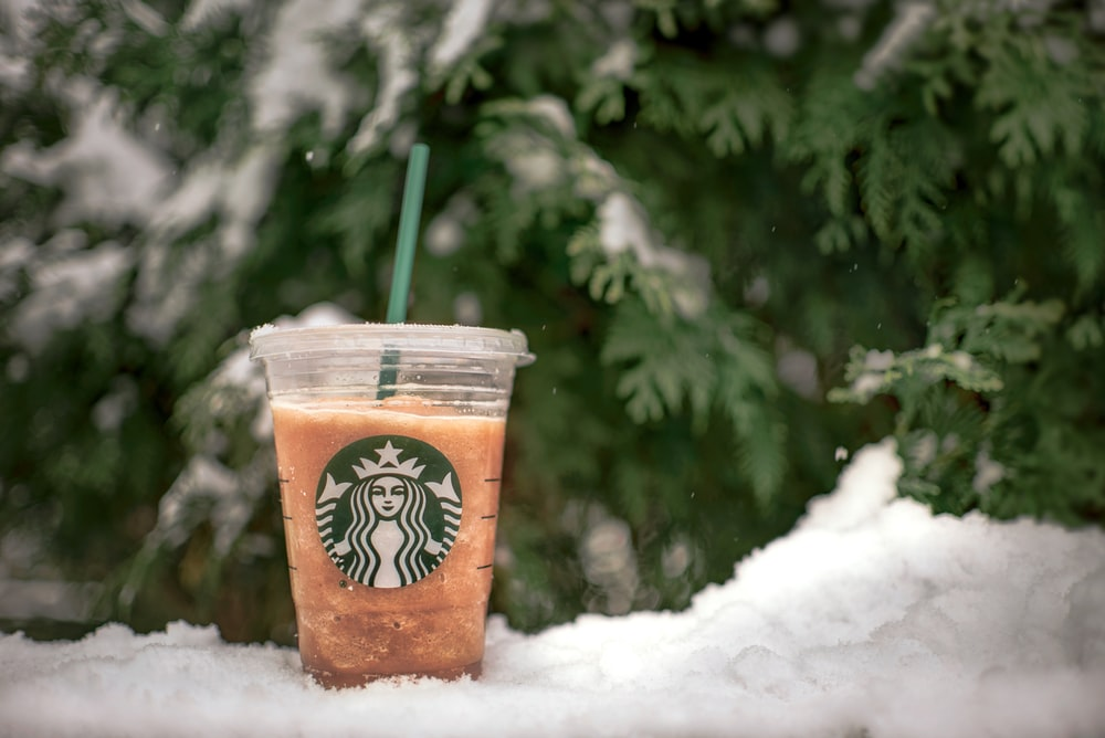 Starbucks iced coffee near green tree