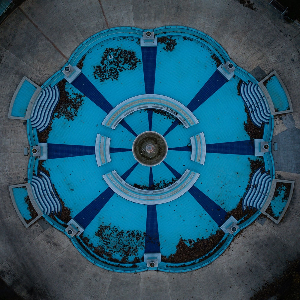 aerial photography of blue pool