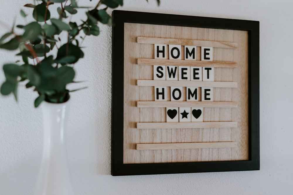 brown home sweet home wall frame