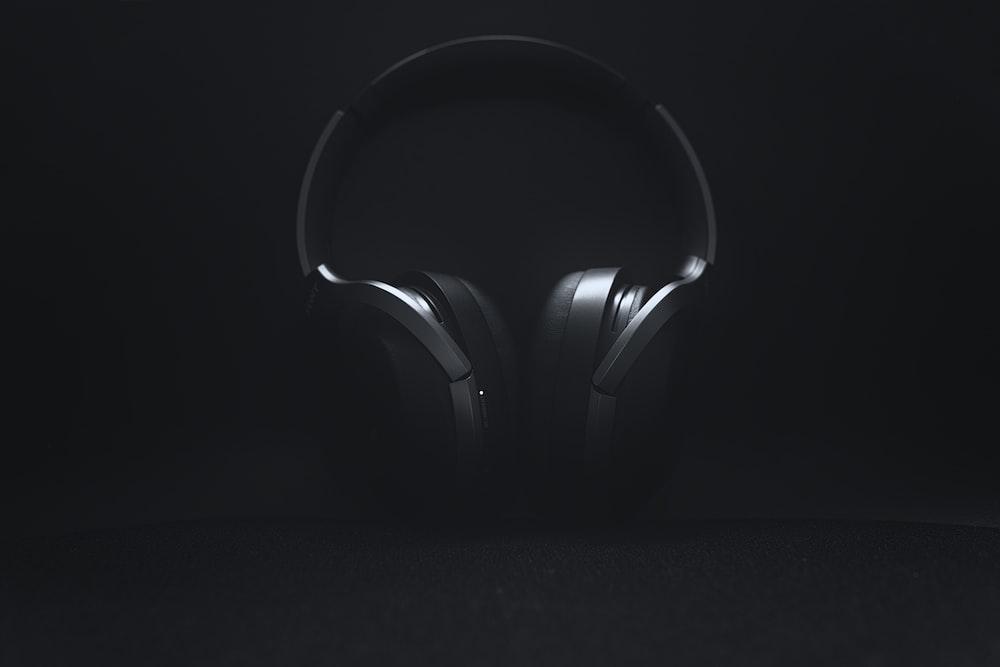 black and gray wireless headphones