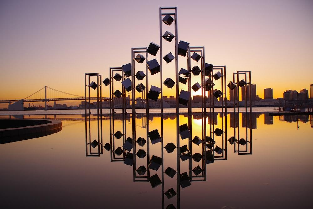brown metal landmark during golden hour