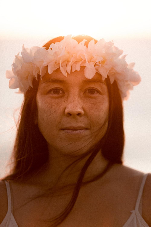 woman wearing flower headband