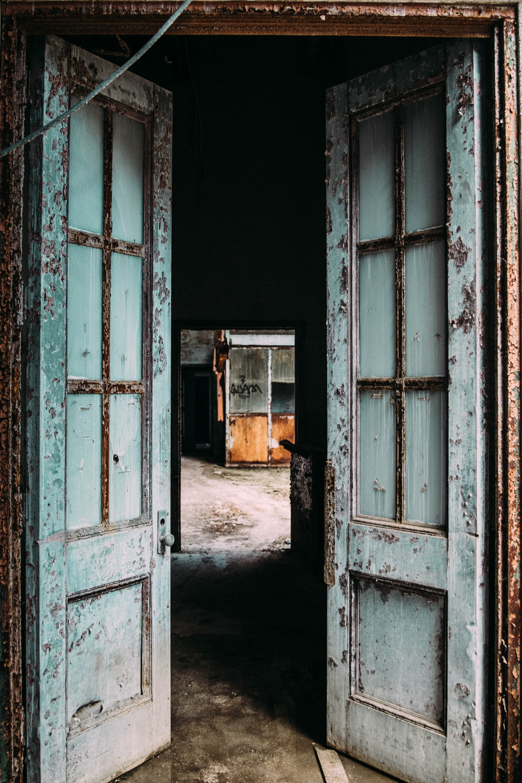 gray wooden opened door