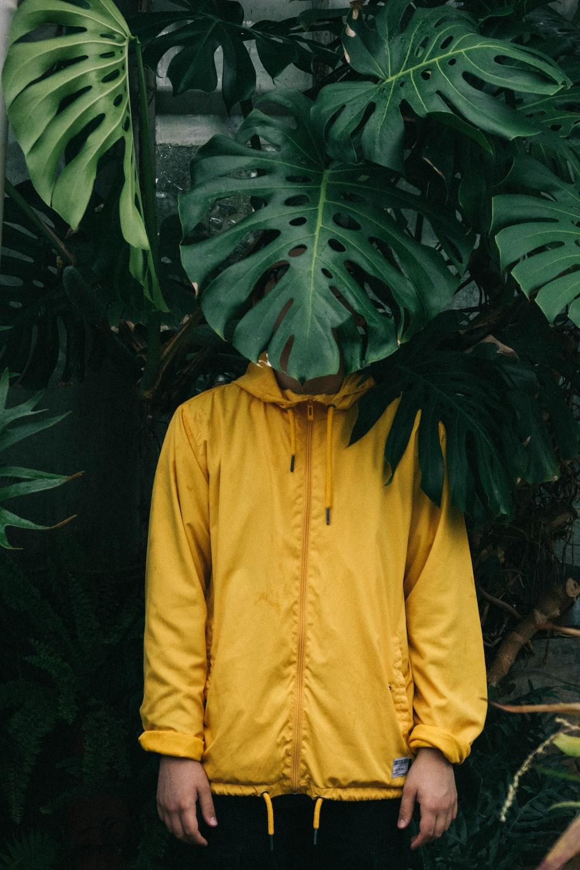 Yellow zip up hoodie jacket