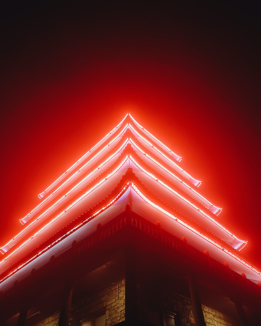red LED strip on pagoda