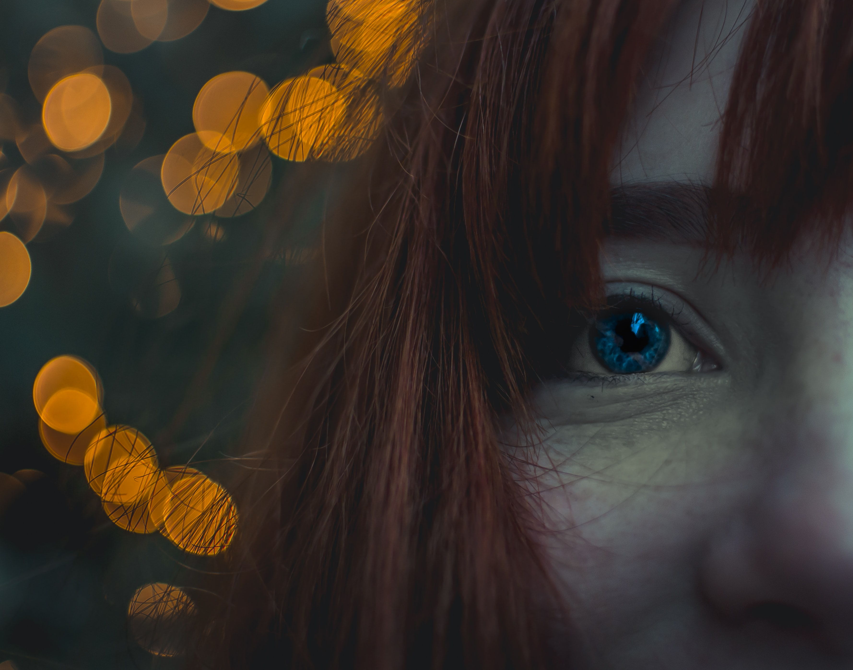 close up photo of red haired woman
