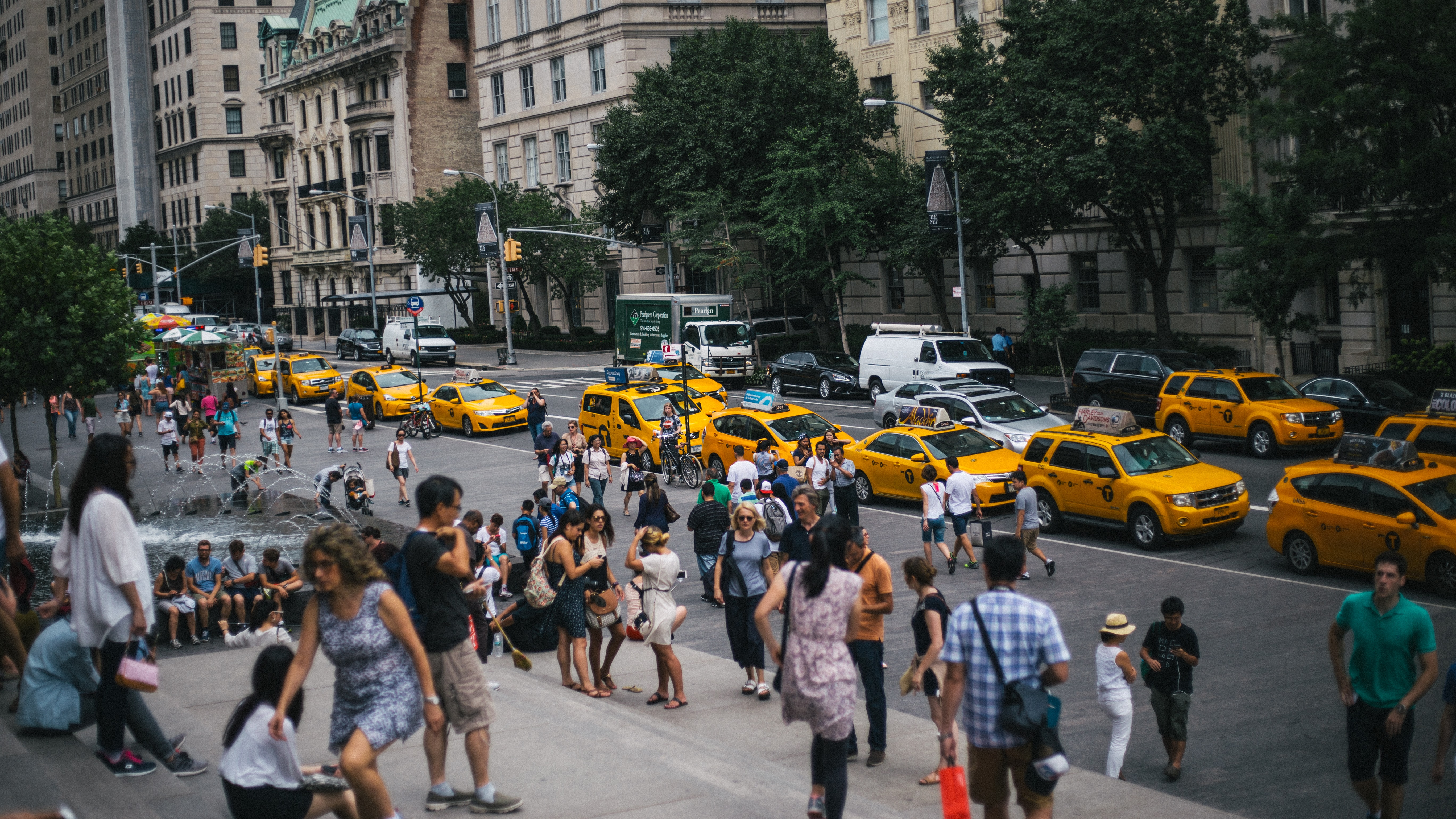 lined yellow taxis