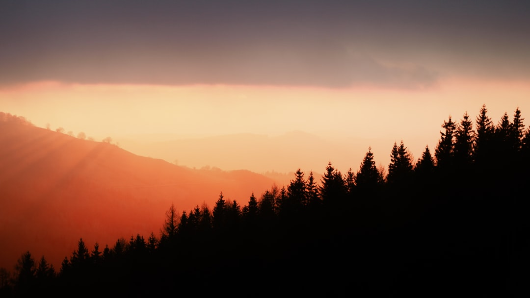 sunset over Cantal, France
