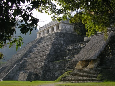 A morning shot in the jungle of Palenque of the Maya Temple of the Inscriptons and Temple of the Red Queen