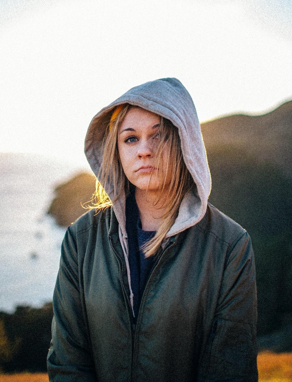 woman in black and gray zip hoodie