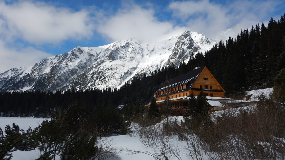 building near trees and glacier mountain under blue sky