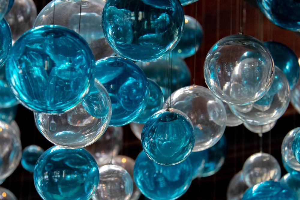 hanging blue and white glass baubles