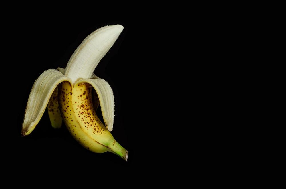 ripe banana peeled off