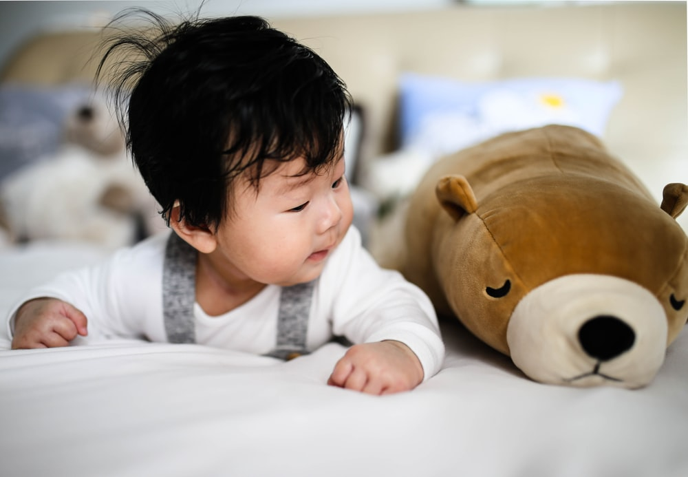 baby looking at plush toy