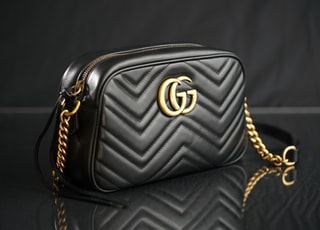 black Gucci leather shoulder bag