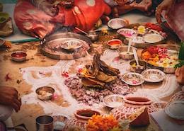 food served in front of men