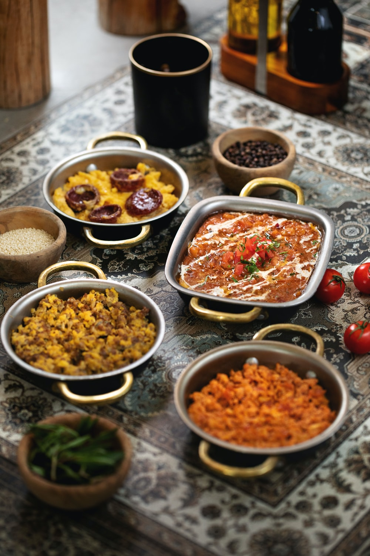 four stir rice on gray bowls