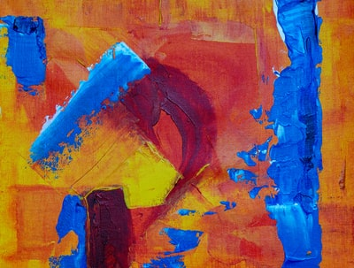 orange and blue painting expressionism zoom background