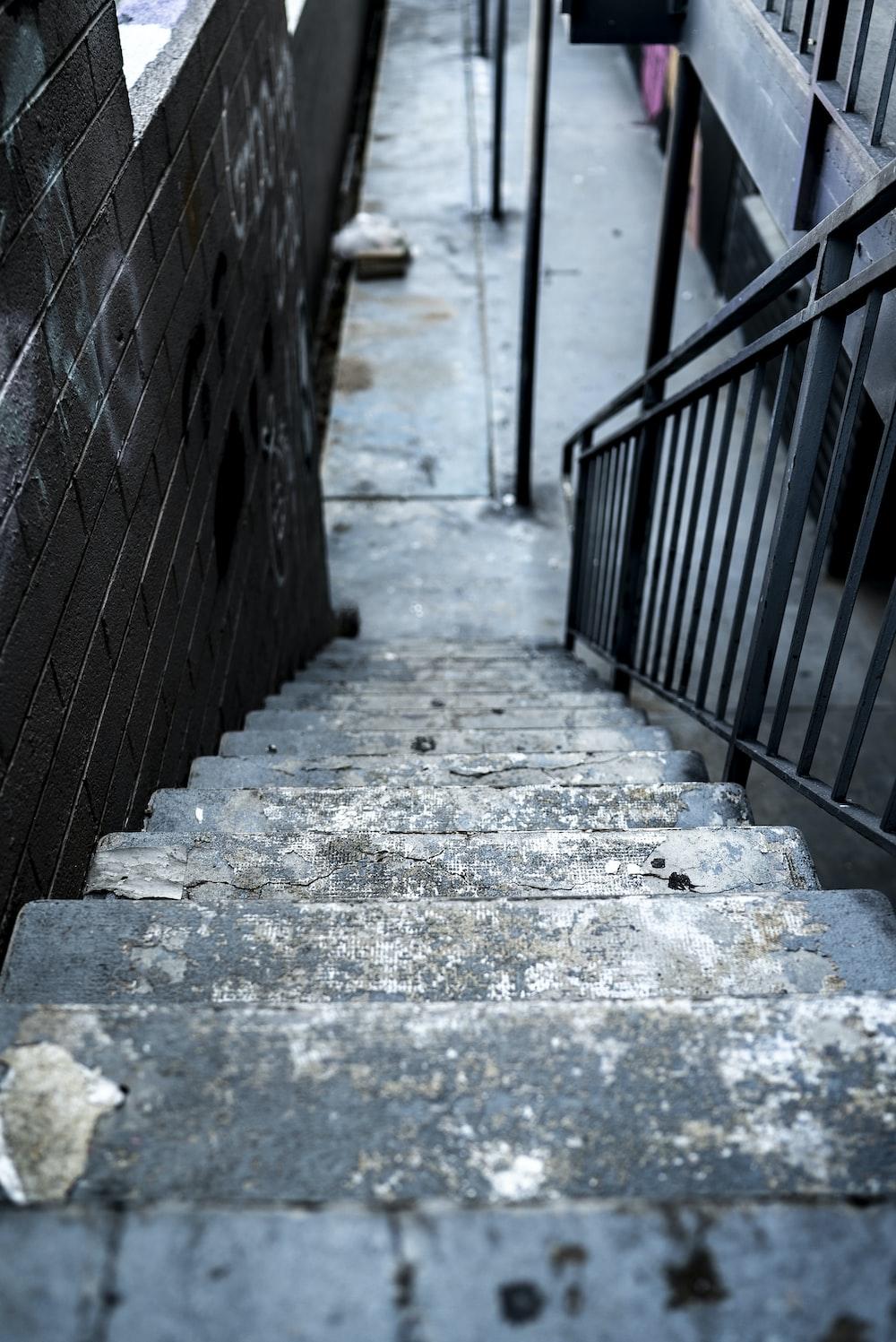 gray concrete staircase