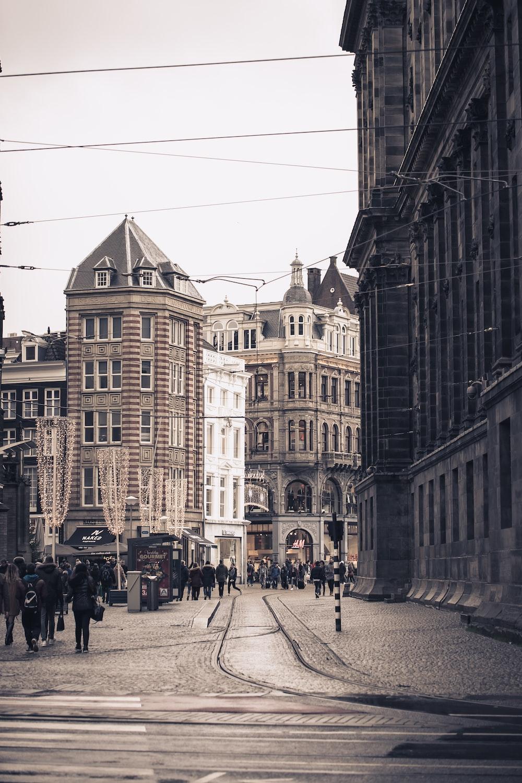 people walking around streets