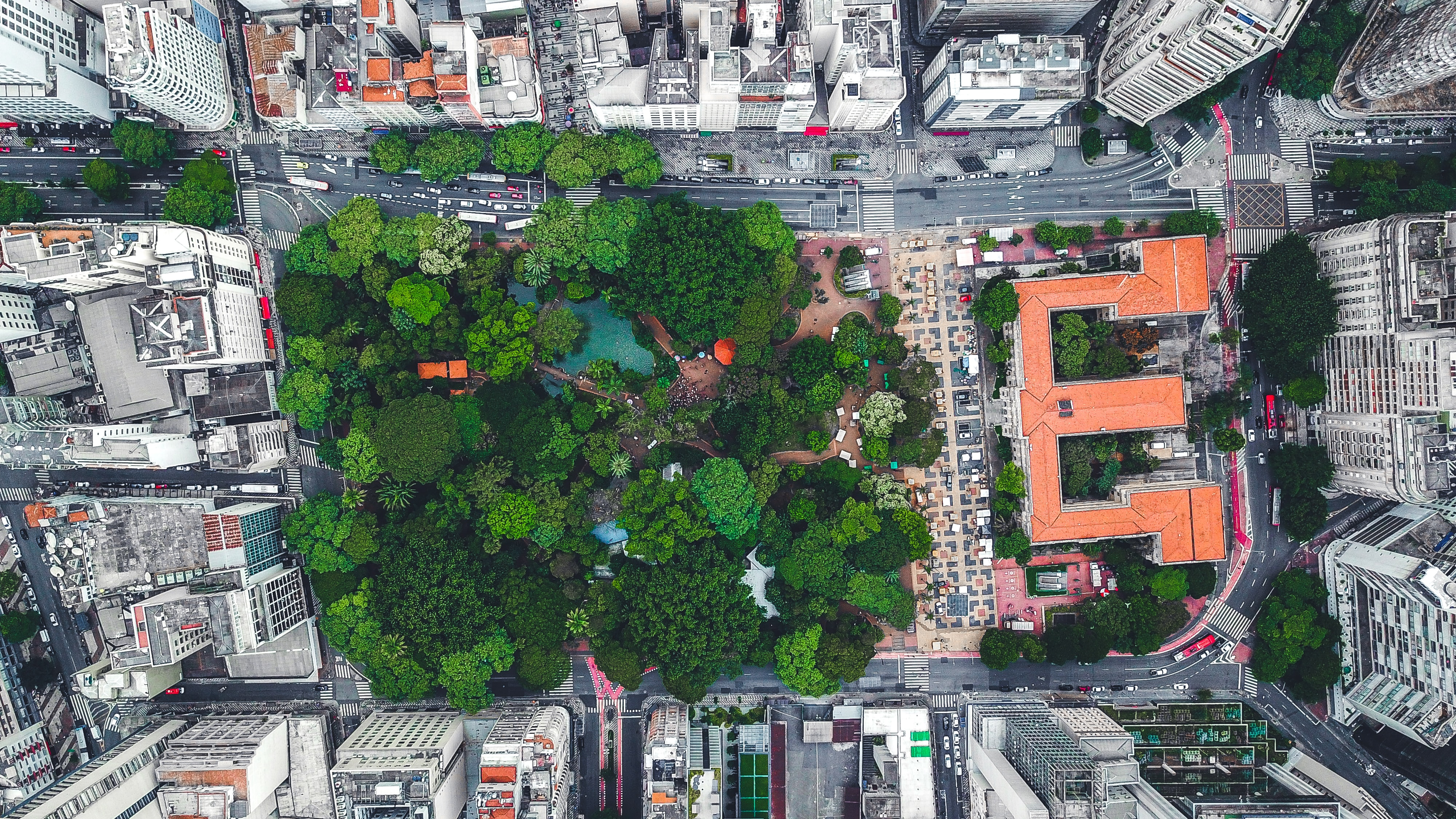 aerial photo of park in the middle of city
