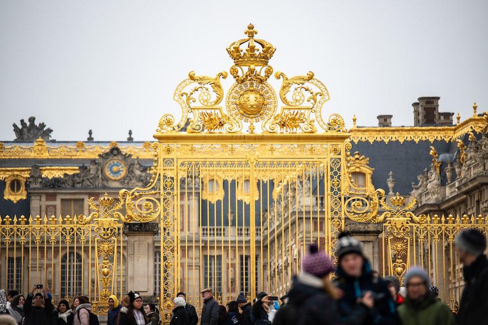gold-colored gate