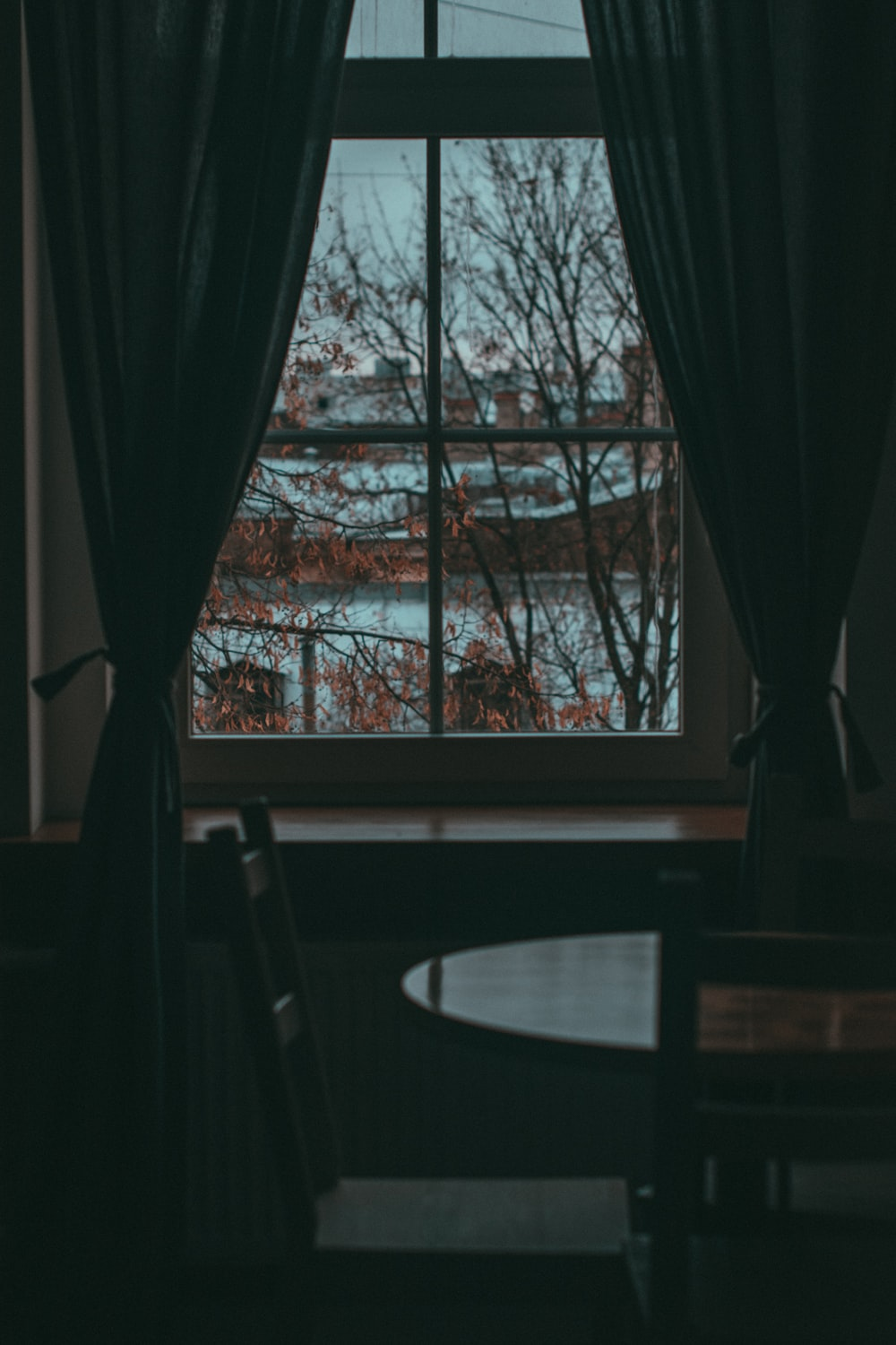 two black window curtains