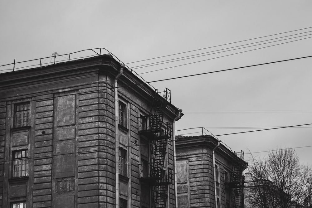 grayscale photo of houses