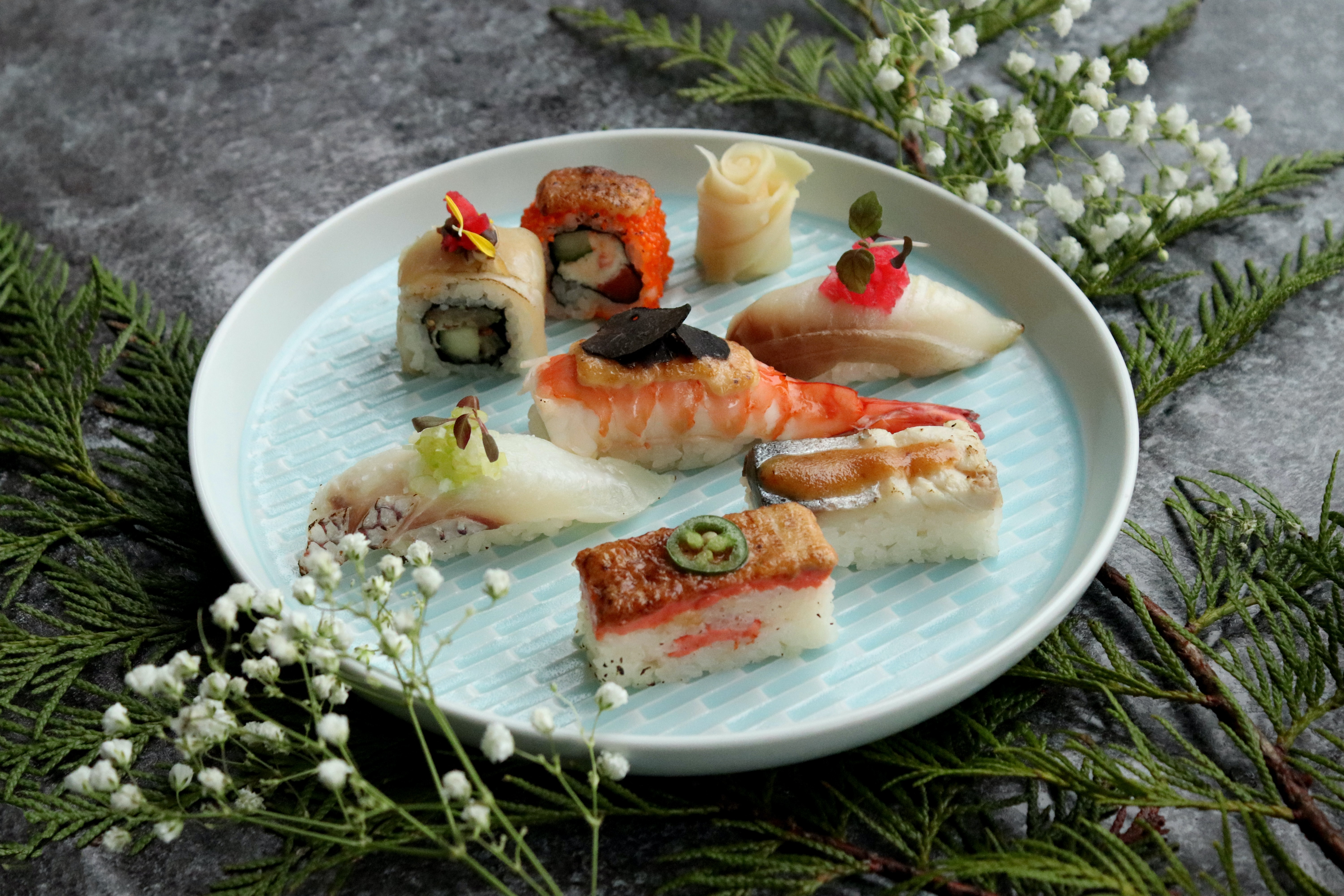 sushis served on white tray