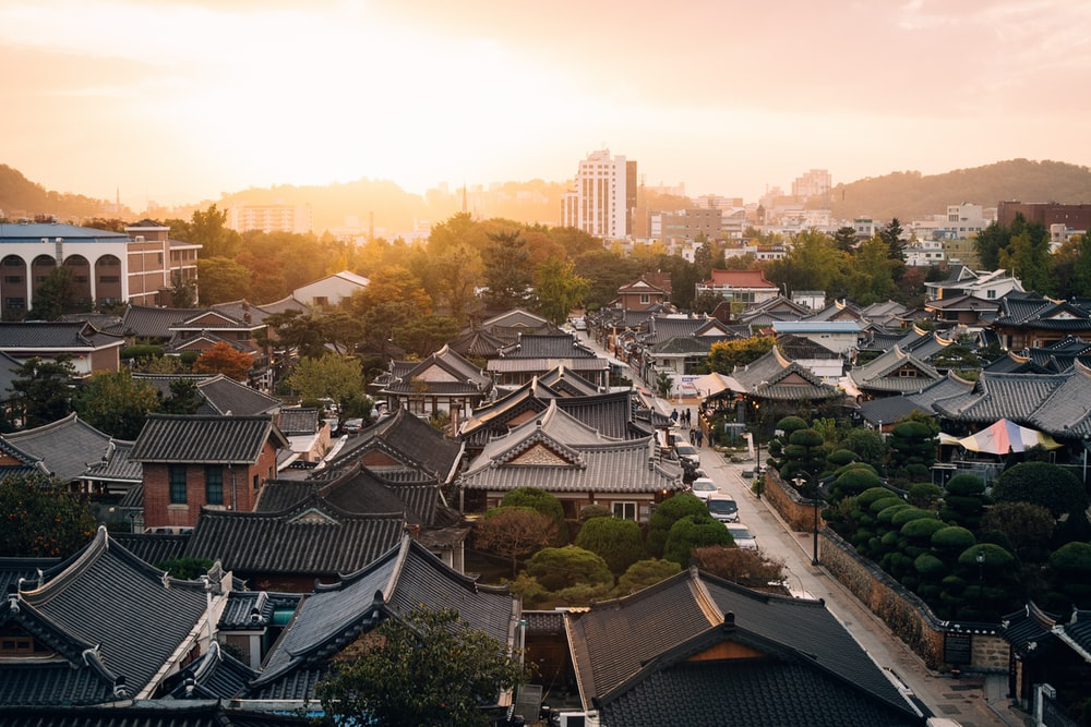 aerial view photography of houses during golden hour