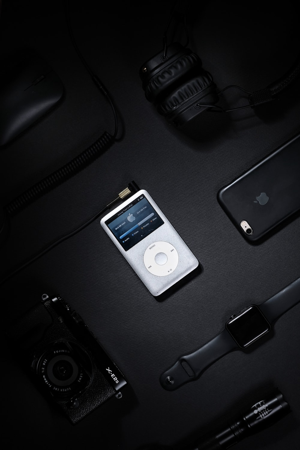 turned-on white iPod Classic
