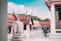 empty white and red temple