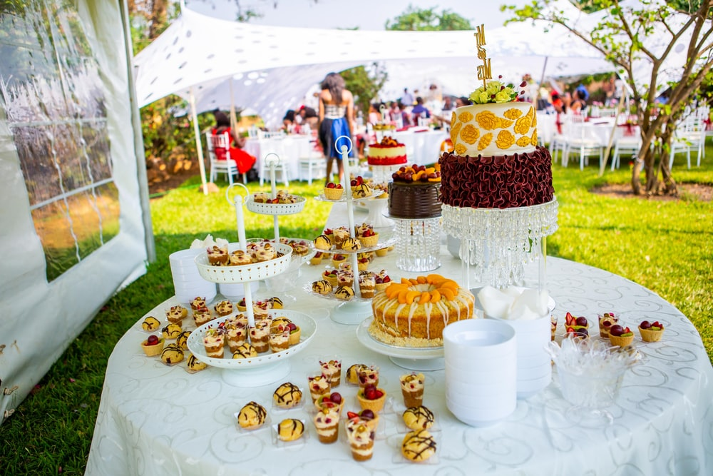 dessert station on table outdoor