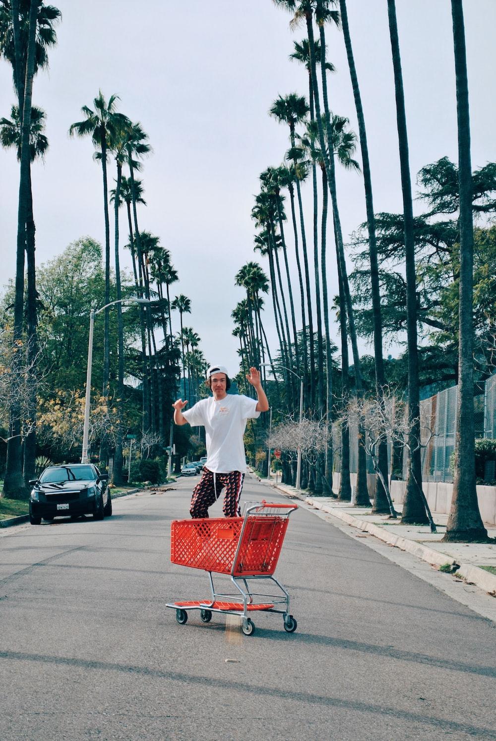 man on shopping cart
