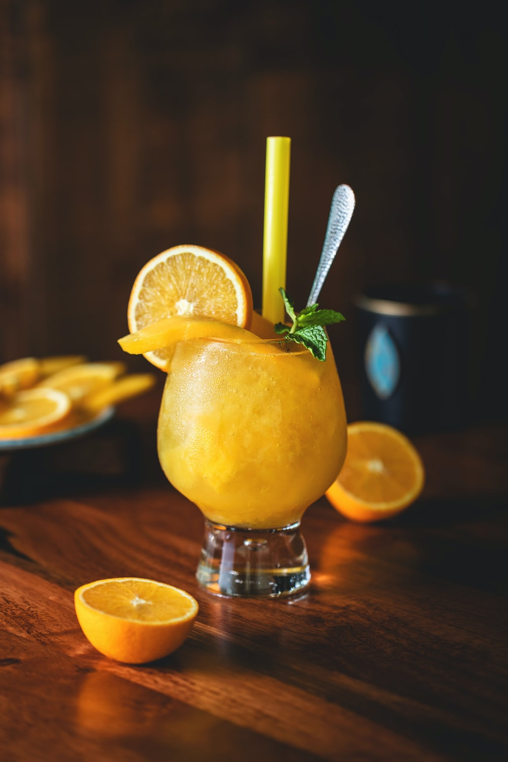 citrus juice in clear glass